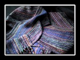 Jeweltone Scarf Handwoven Rayon Chenille and Tencel 66