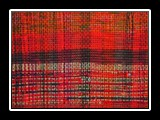 1910 Wall Hanging Handwoven Rag, Overdyed, Plain Weave 48