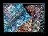 Old Familiar Places Scarf Handwoven Wool and Tencel, 2H Log Cabin Weave 80